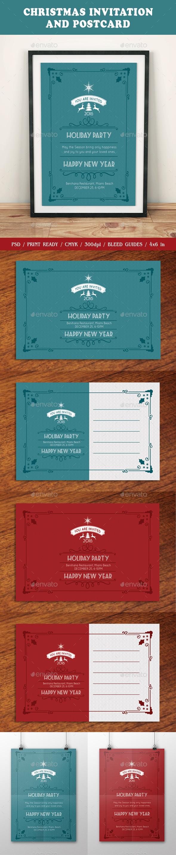 Christmas Invitation and Postcard - Invitations Cards & Invites