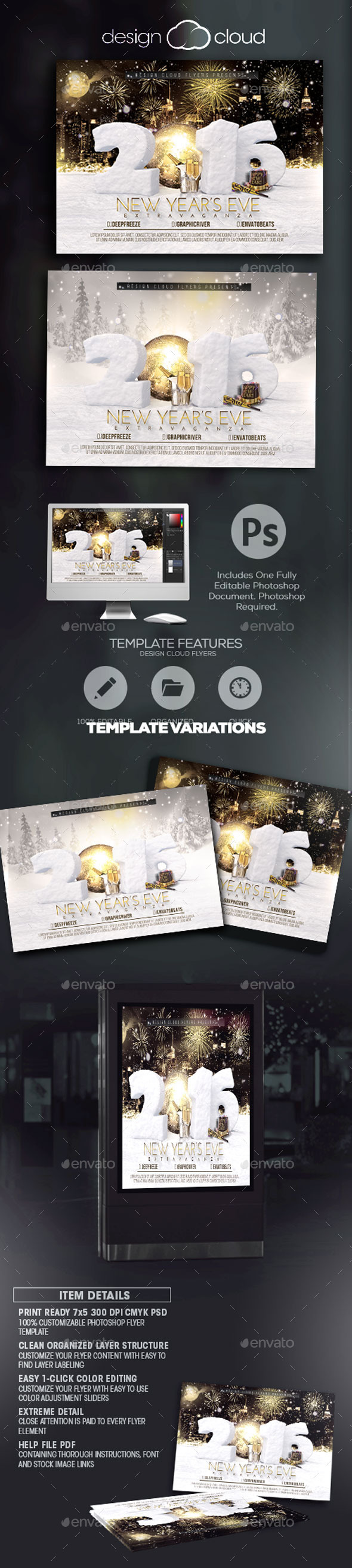 New Year's Eve Extravaganza Flyer Template - Holidays Events