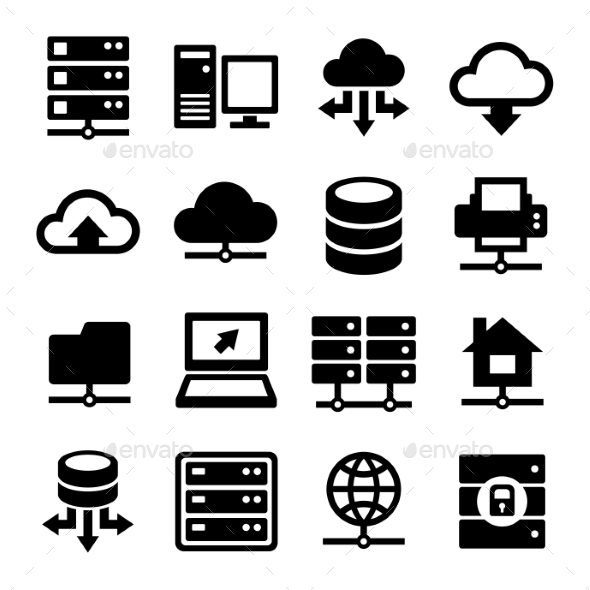 Big Data Center And Server Icons Set. Vector - Technology Icons