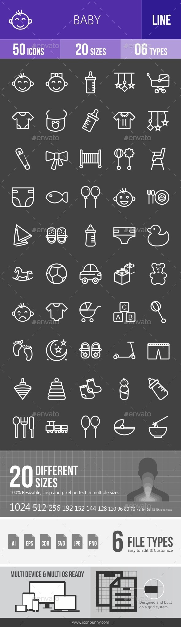 Baby Line Inverted Icons - Icons