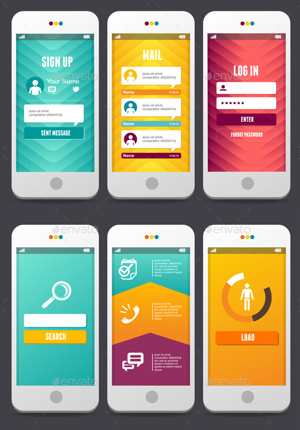Web Design Elements. Applications Templates.Vector - Web Technology