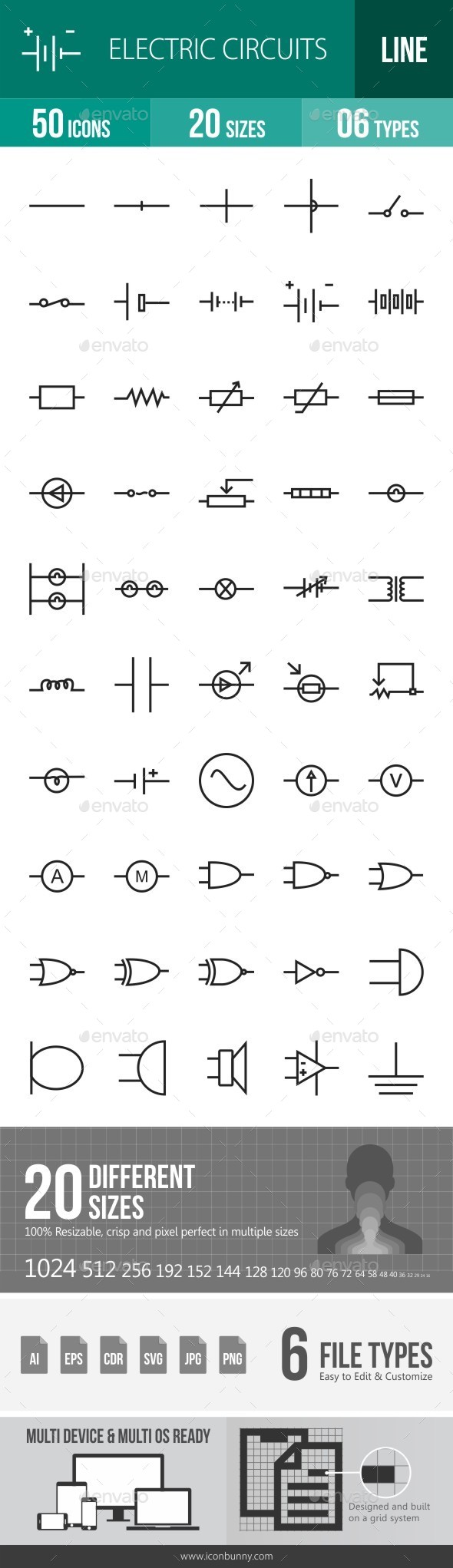 Electric Circuits Line Icons - Icons