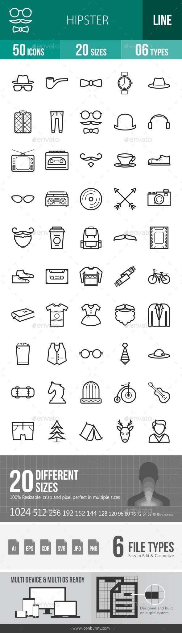 Hipster Line Icons - Icons