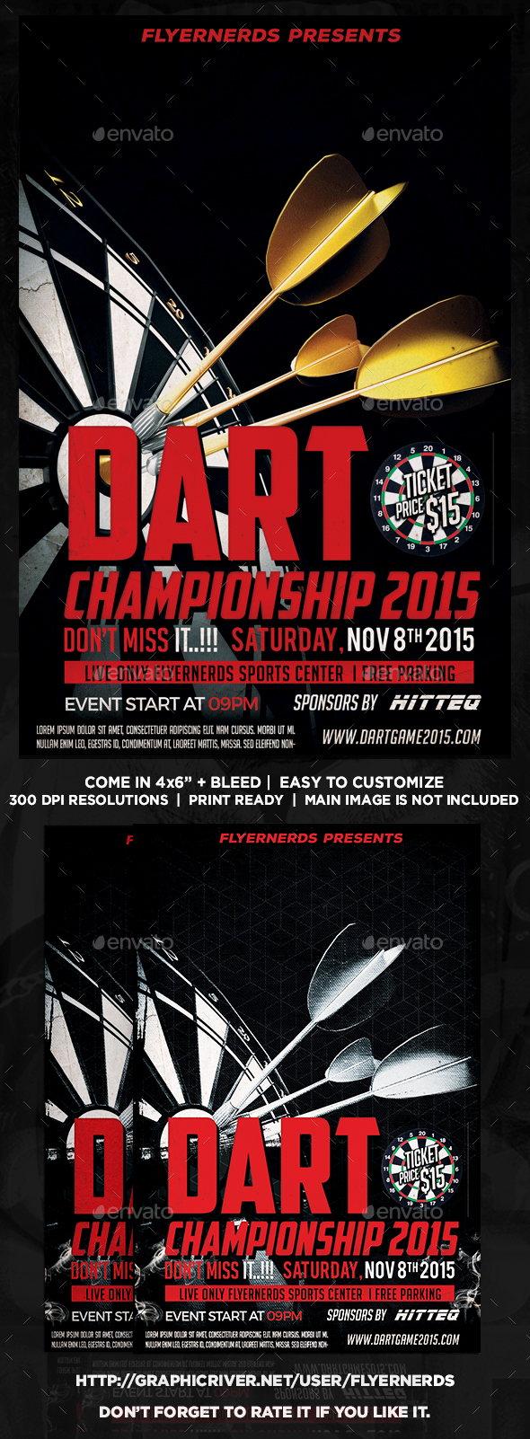 Dart Championships 2015 Sports Flyer - Concerts Events