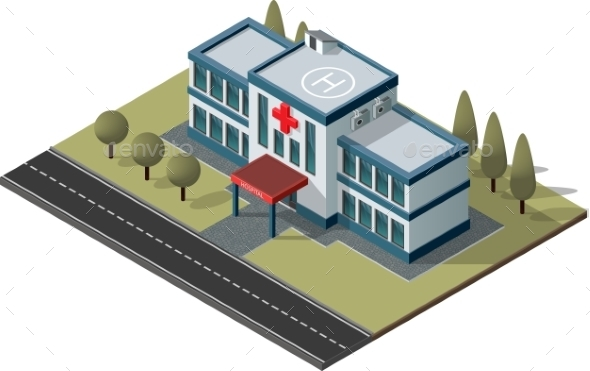 Isometric Hospital Vector - Buildings Objects