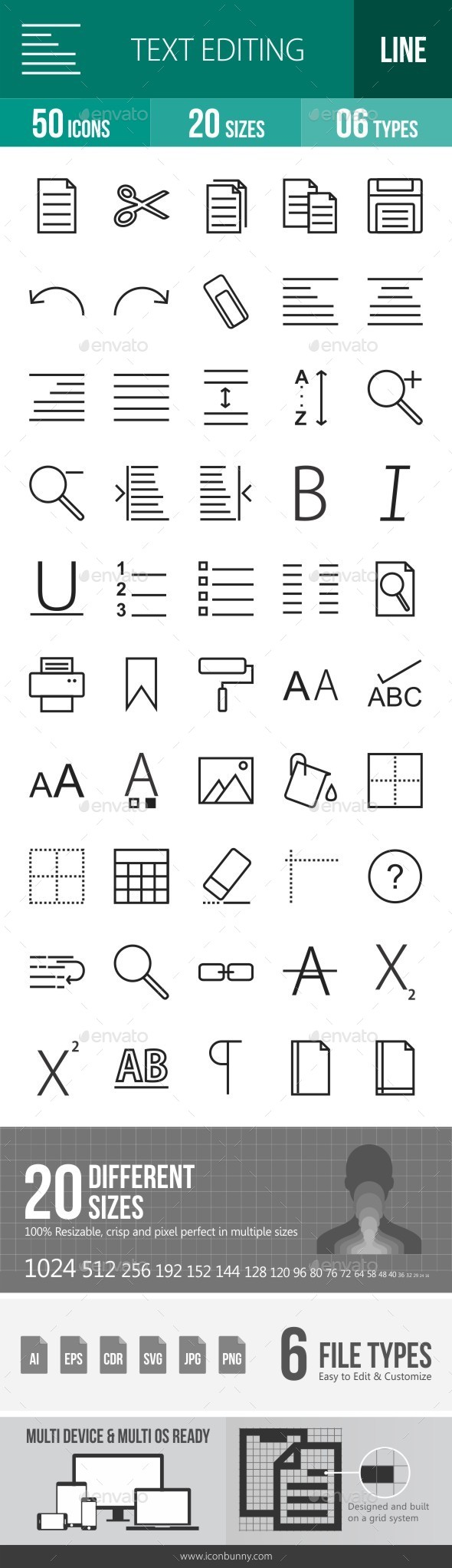 Text Editing Line Icons - Icons