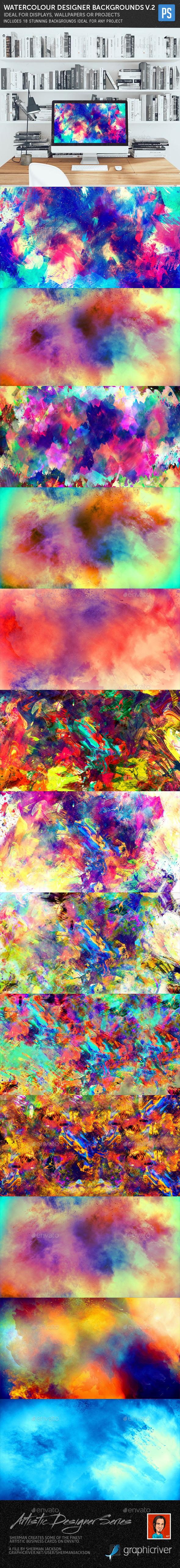 Watercolour Designer Backgrounds V.2 - Backgrounds Graphics