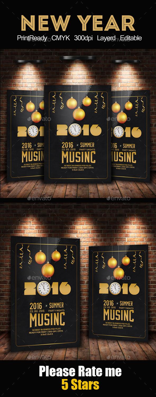 Golden New Year Celebration Flyer - Holidays Events