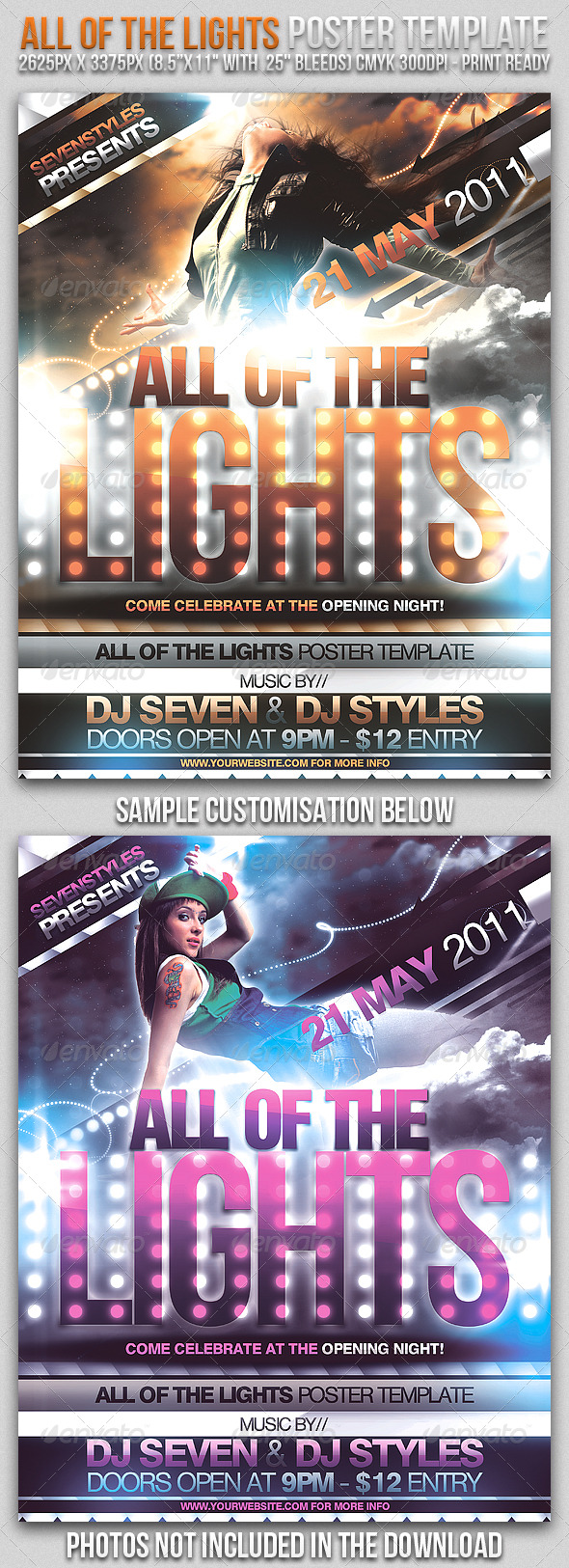 Lights Poster/Flyer Template - Clubs & Parties Events