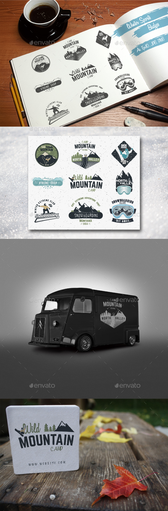 Winter Sports & Camping Badges Set - Badges & Stickers Web Elements