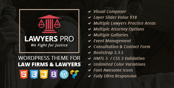Lawyer Pro – Responsive WordPress Theme for Lawyers