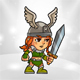 2D Game Girl Warrior Character - GraphicRiver Item for Sale