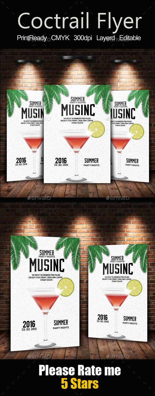 Summer Cocktails Flyer Template - Holidays Events