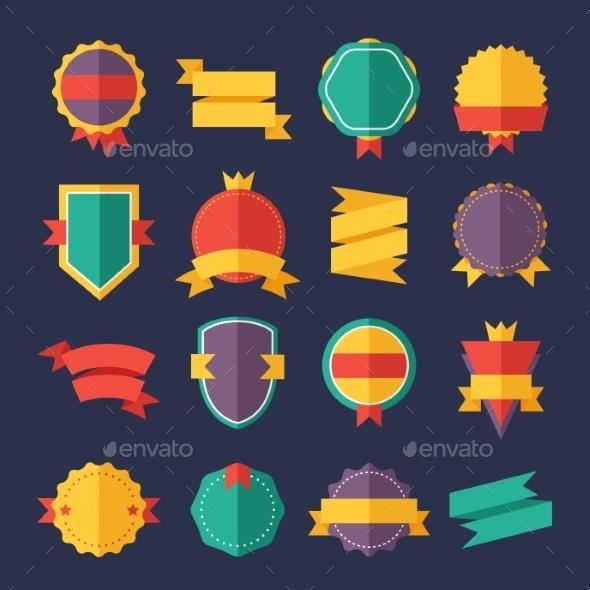 Modern Flat Design Badges Collection - Decorative Symbols Decorative