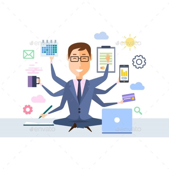 Businessman With Multitasking  - People Characters
