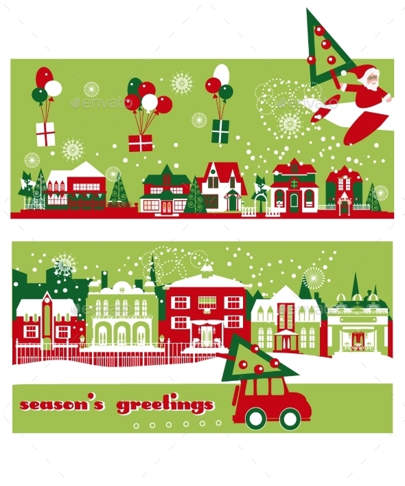 Christmas And New Year Greeting Card Template - Christmas Seasons/Holidays