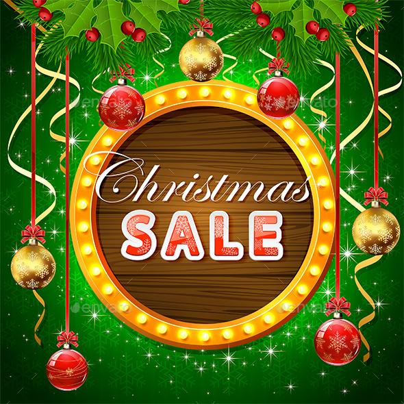 Christmas Sale on Round Banner with Balls - Christmas Seasons/Holidays