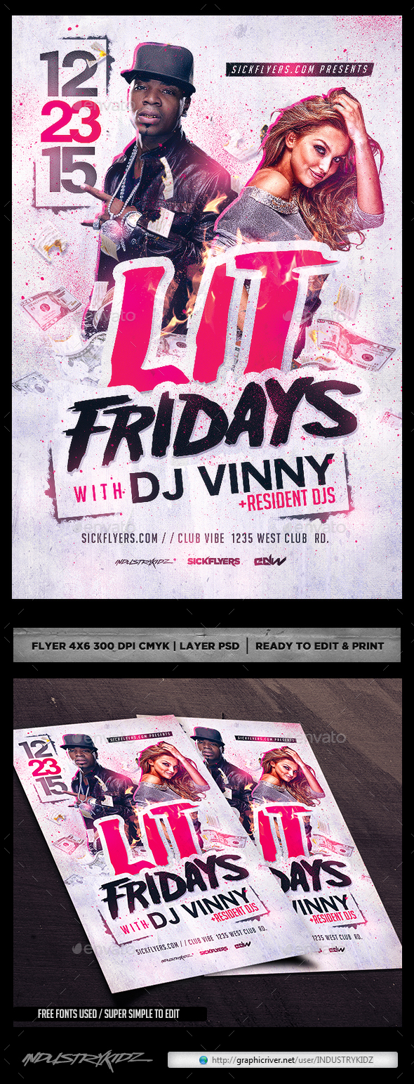 Lit Flyer Template - Clubs & Parties Events