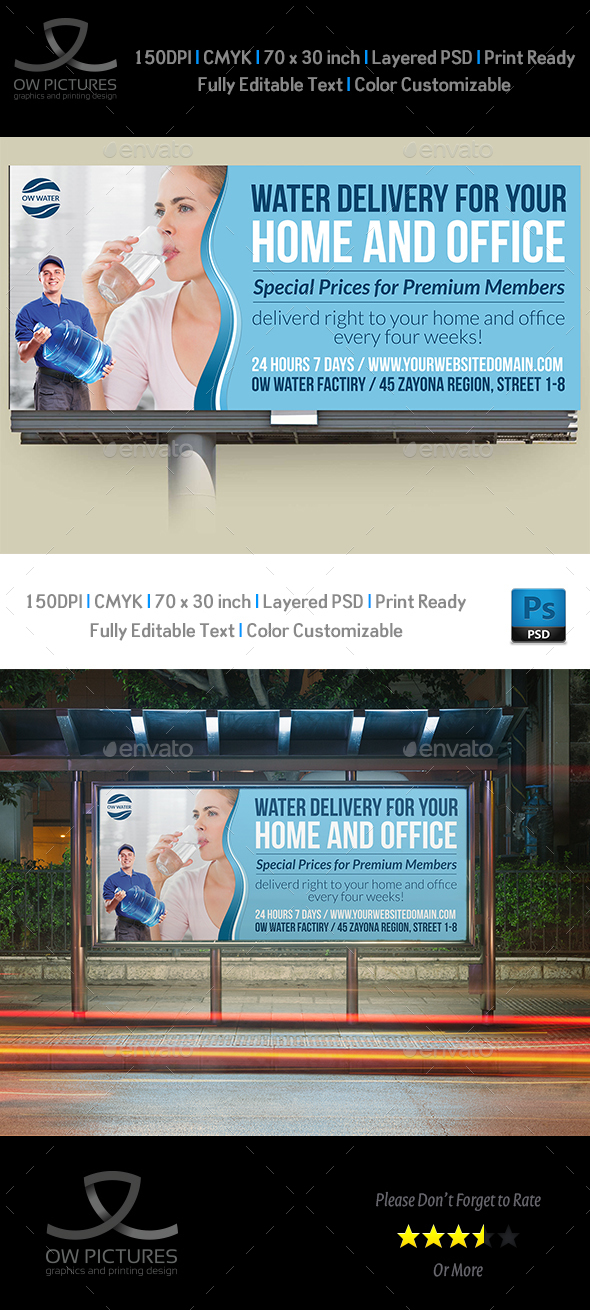 Delivery Drinking Water Service Billboard Template - Signage Print Templates