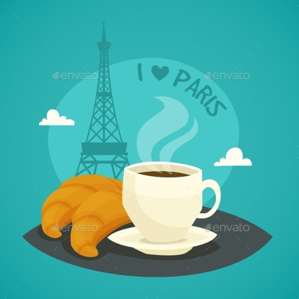 Cup Of Morning Coffee With Croissants - Food Objects