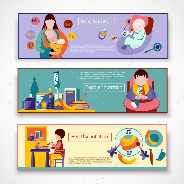 Baby Nutrition Banner Set - People Characters