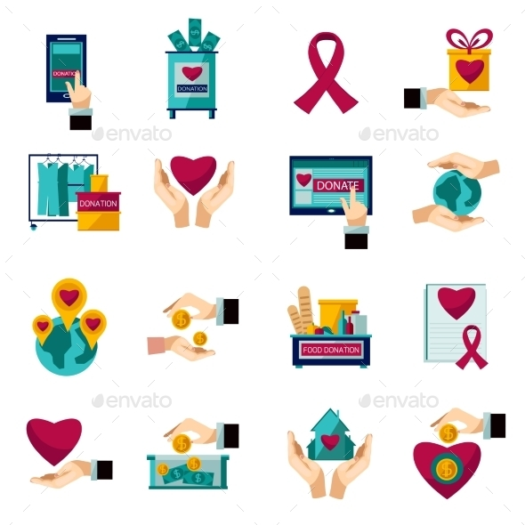 Charity Donation Flat Icons Set - Miscellaneous Conceptual