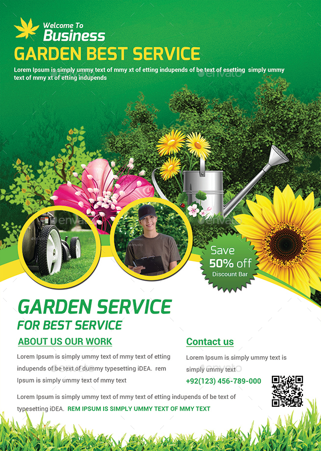 Garden template for Garden maintenance flyer template