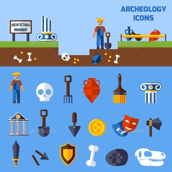 Archeology Icons  Set - Decorative Symbols Decorative