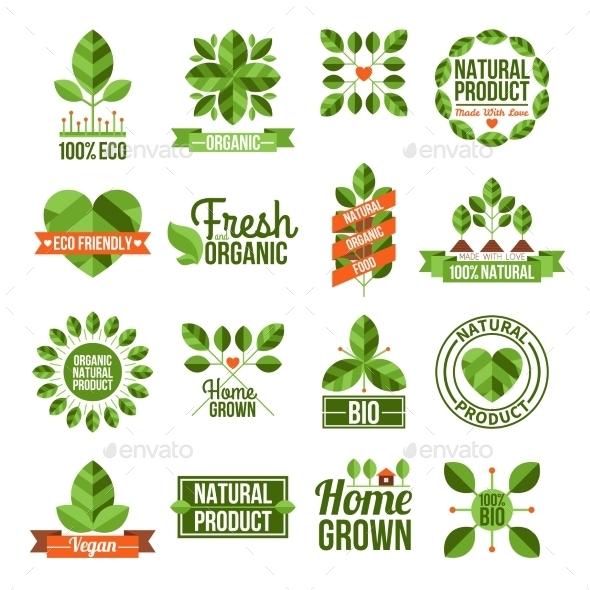 Organic and Natural Labels Set - Decorative Symbols Decorative
