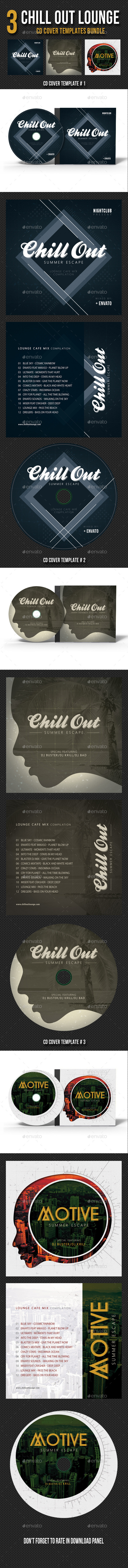 3 in 1 Chill Out Lounge CD Cover Bundle - CD & DVD Artwork Print Templates
