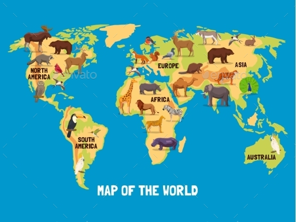 Animals World Map - Travel Conceptual