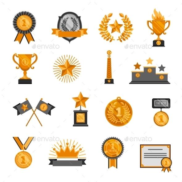 Trophy and Awards Icons Set  - Decorative Symbols Decorative