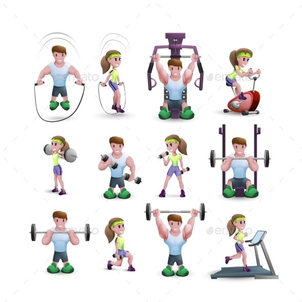 Icon Set of Fitness Characters - People Characters