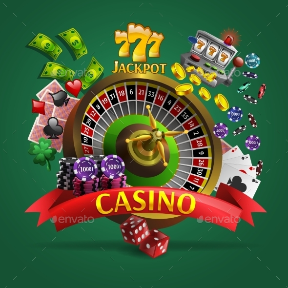 Casino Poster on Green Background - Backgrounds Business