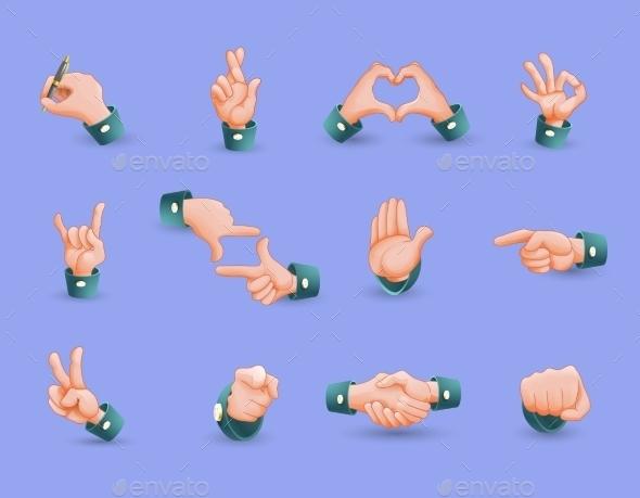 Icon Set of Hand Gestures - Decorative Symbols Decorative