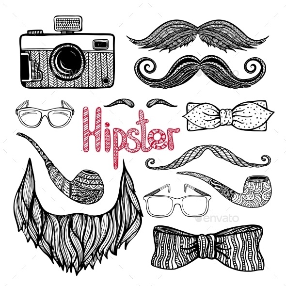 Hipster Hair Style Accessories Icons Set  - Miscellaneous Conceptual