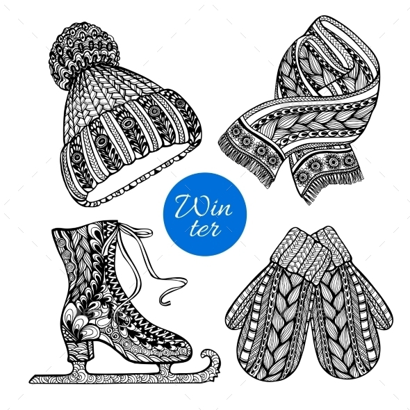 Decorative Skates Mittens Scarf Doodle Icons - Man-made Objects Objects