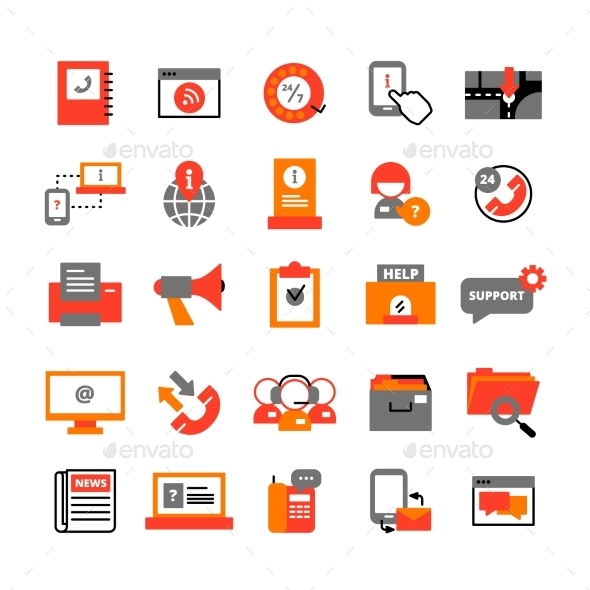 Support Center Icons Set  - Technology Icons