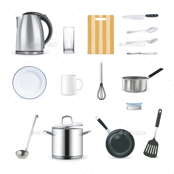 Realistic Icons of Kitchen Utensils - Decorative Symbols Decorative