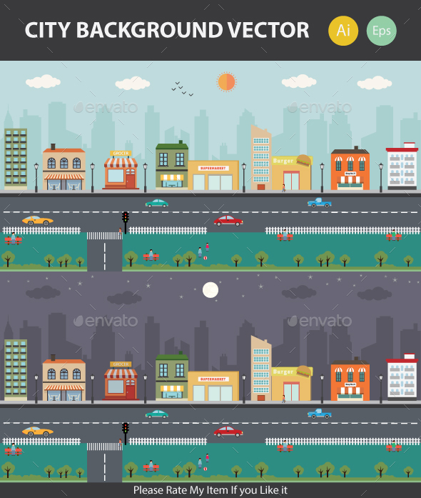 City Game Vector Background - Backgrounds Game Assets