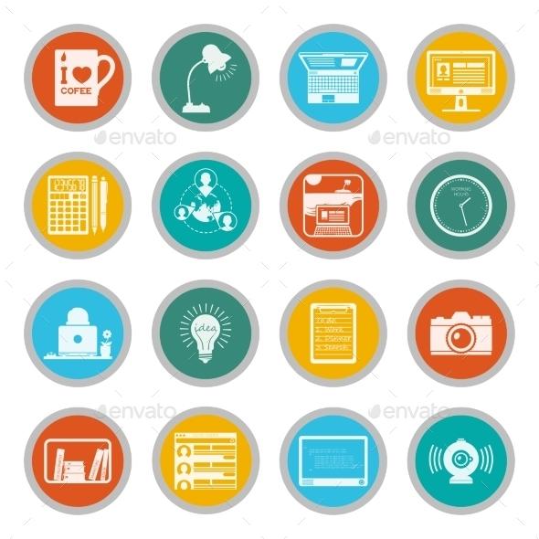 Freelance Icons Flat Set - Business Icons