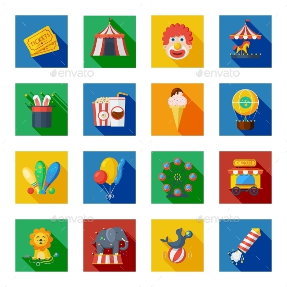 Circus Icons Flat - Food Objects