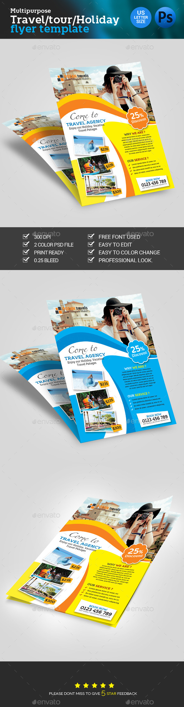 Travel Tour Tourism Agency Flyer By Posanlab Graphicriver