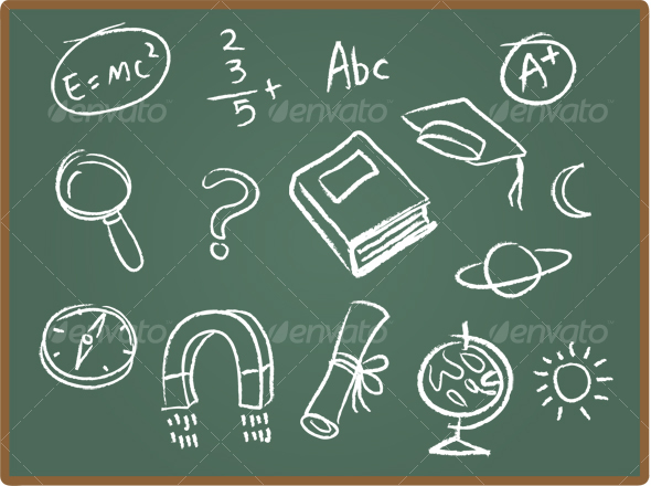 School Icons on ChalkBoard 1 - Decorative Symbols Decorative