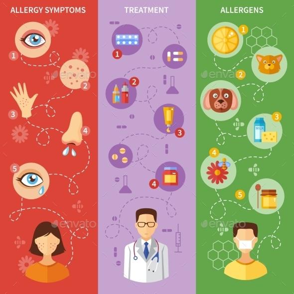 Allergy Symptoms Vertical Banners - Health/Medicine Conceptual