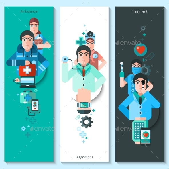 Banners Set of Doctor Characters - Health/Medicine Conceptual