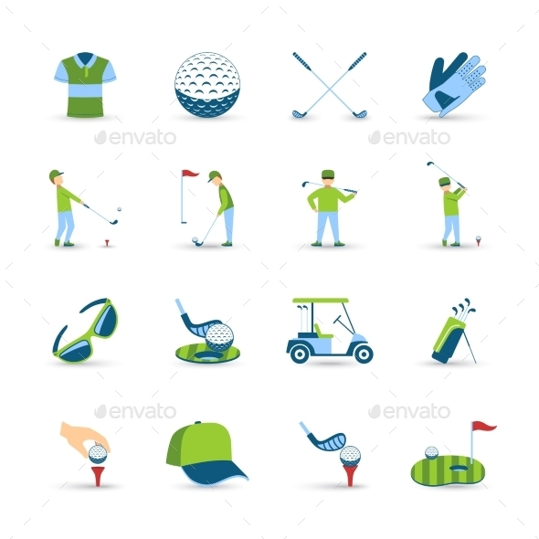 Golf Icons Set - People Characters