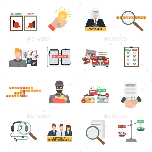 Compliance Copyright Law Flat Icons Set - Miscellaneous Icons