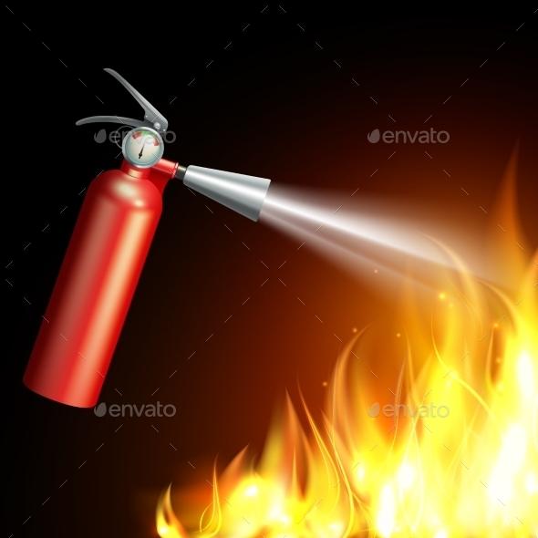Fire Extinguisher Illustration - Backgrounds Decorative