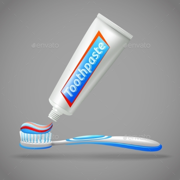 Toothbrush and Toothpaste Design Icons - Health/Medicine Conceptual